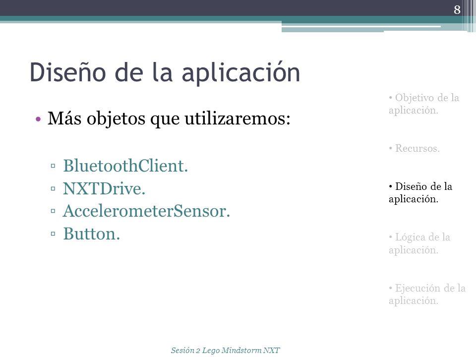 Diseño de la aplicación Más objetos que utilizaremos: BluetoothClient. NXTDrive. AccelerometerSensor. Button. 8 Objetivo de la aplicación. Recursos. D