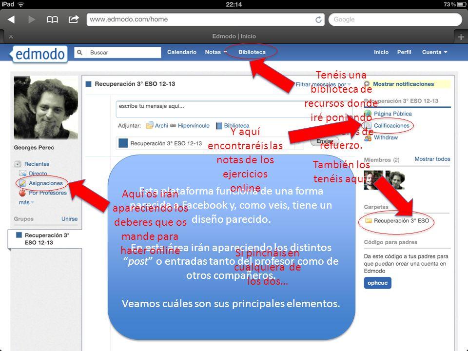 Esta plataforma funciona de una forma parecida a Facebook y, como veis, tiene un diseño parecido. En esta área irán apareciendo los distintospost o en