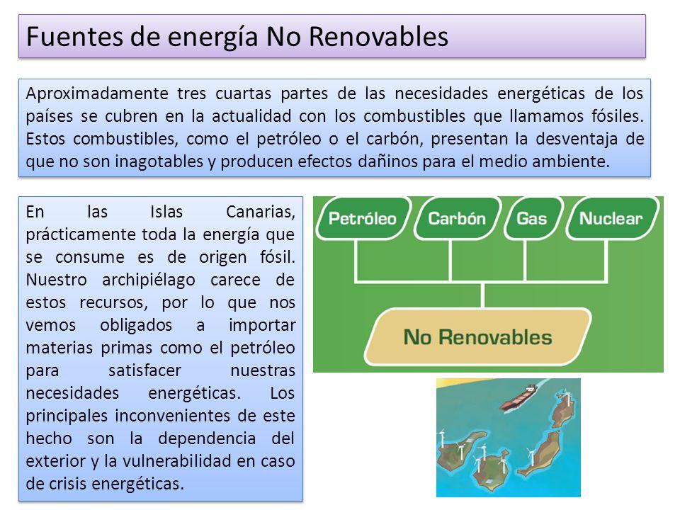 Fuentes de energía No Renovables Aproximadamente tres cuartas partes de las necesidades energéticas de los países se cubren en la actualidad con los combustibles que llamamos fósiles.
