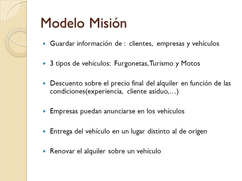 Modelo Misión Guardar información de : clientes, empresas y vehículos 3 tipos de vehículos: Furgonetas, Turismo y Motos Descuento sobre el precio fina