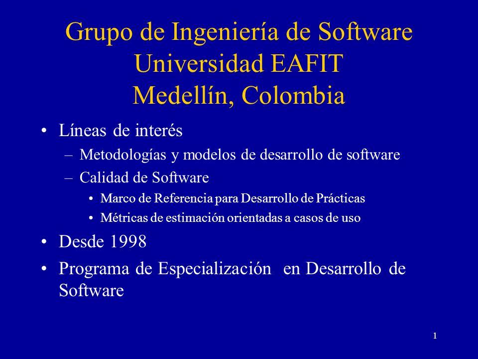 1 Grupo de Ingeniería de Software Universidad EAFIT Medellín, Colombia Líneas de interés –Metodologías y modelos de desarrollo de software –Calidad de
