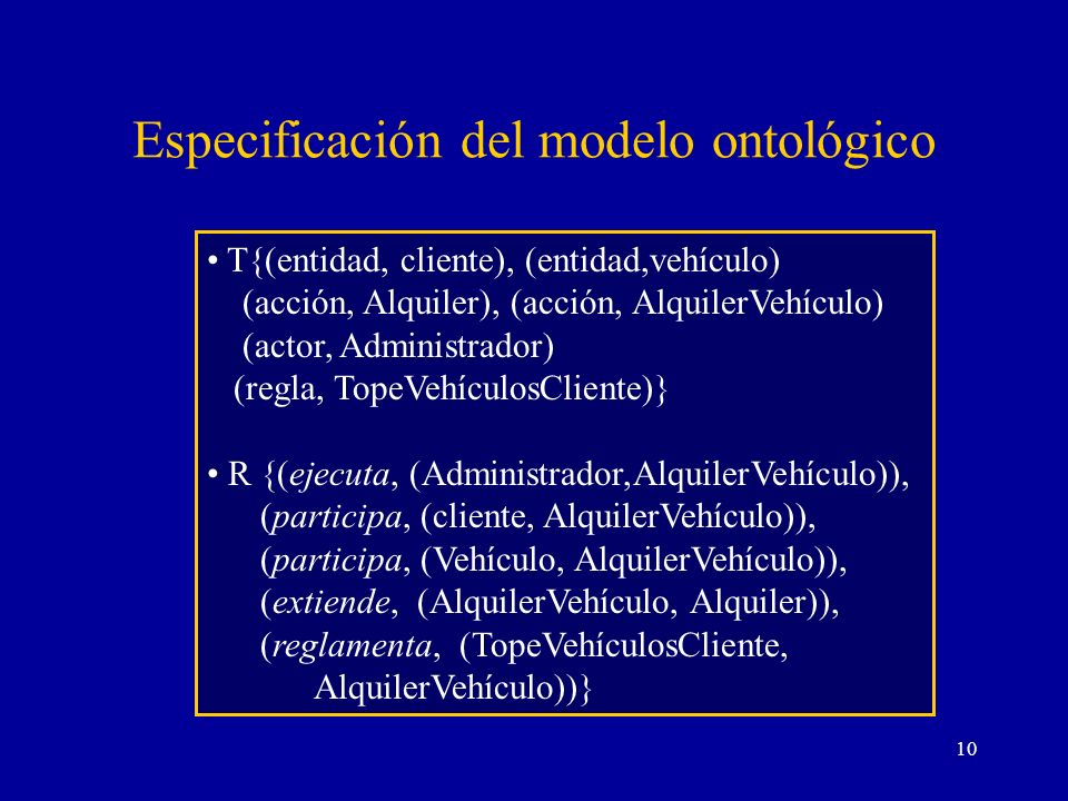 10 Especificación del modelo ontológico T{(entidad, cliente), (entidad,vehículo) (acción, Alquiler), (acción, AlquilerVehículo) (actor, Administrador)