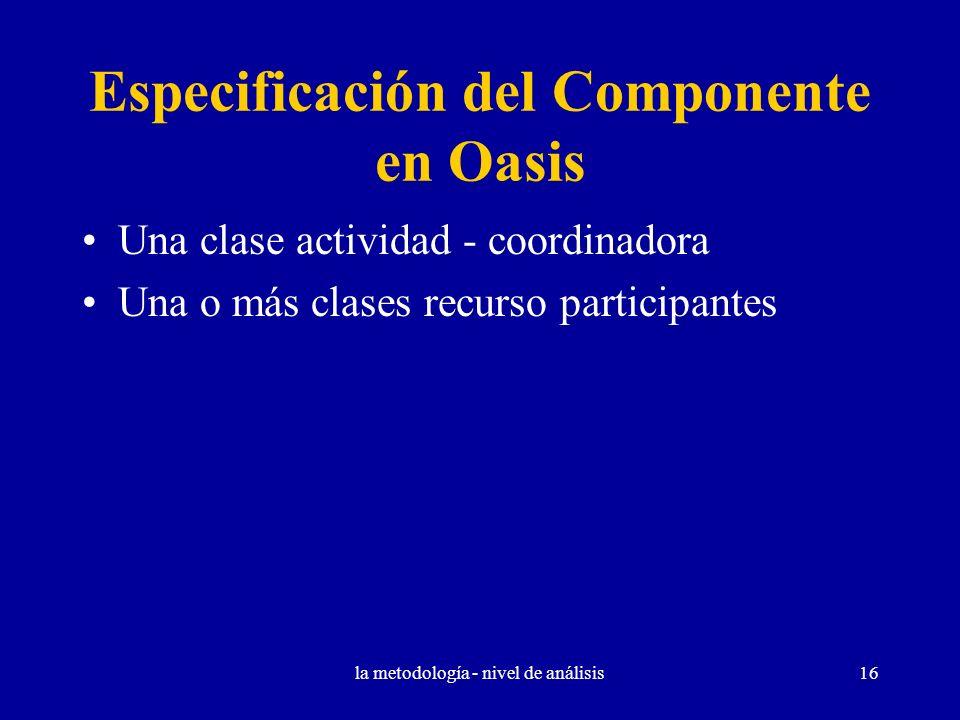 la metodología - nivel de análisis16 Especificación del Componente en Oasis Una clase actividad - coordinadora Una o más clases recurso participantes