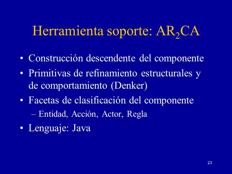 21 Herramienta soporte: AR 2 CA Construcción descendente del componente Primitivas de refinamiento estructurales y de comportamiento (Denker) Facetas