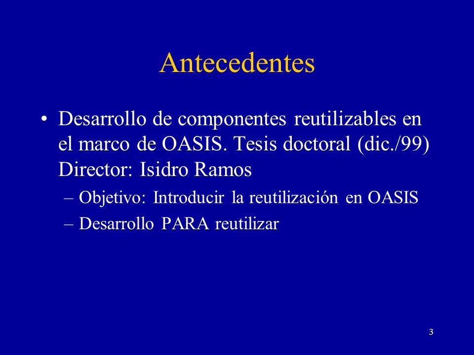 3 Antecedentes Desarrollo de componentes reutilizables en el marco de OASIS. Tesis doctoral (dic./99) Director: Isidro Ramos –Objetivo: Introducir la
