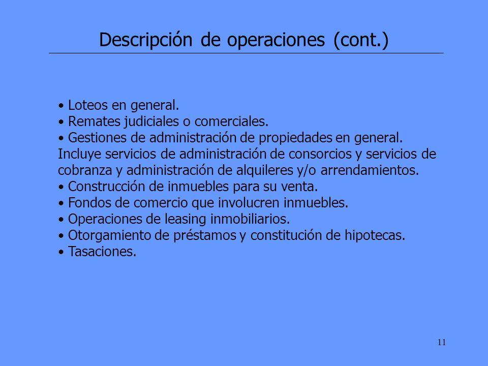 11 Descripción de operaciones (cont.) Loteos en general.