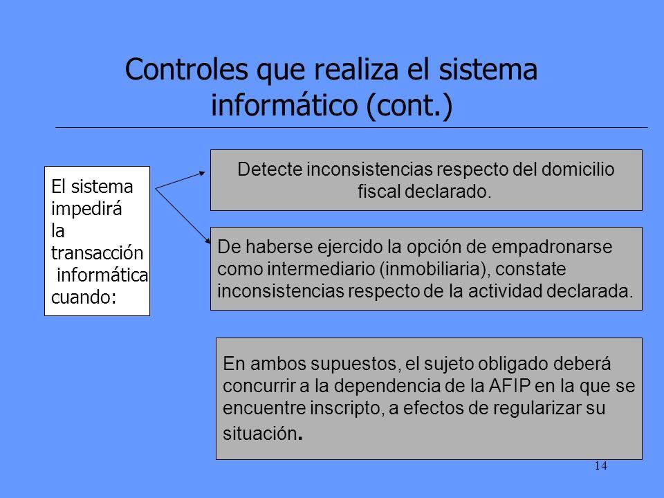 14 Controles que realiza el sistema informático (cont.) El sistema impedirá la transacción informática cuando: Detecte inconsistencias respecto del domicilio fiscal declarado.