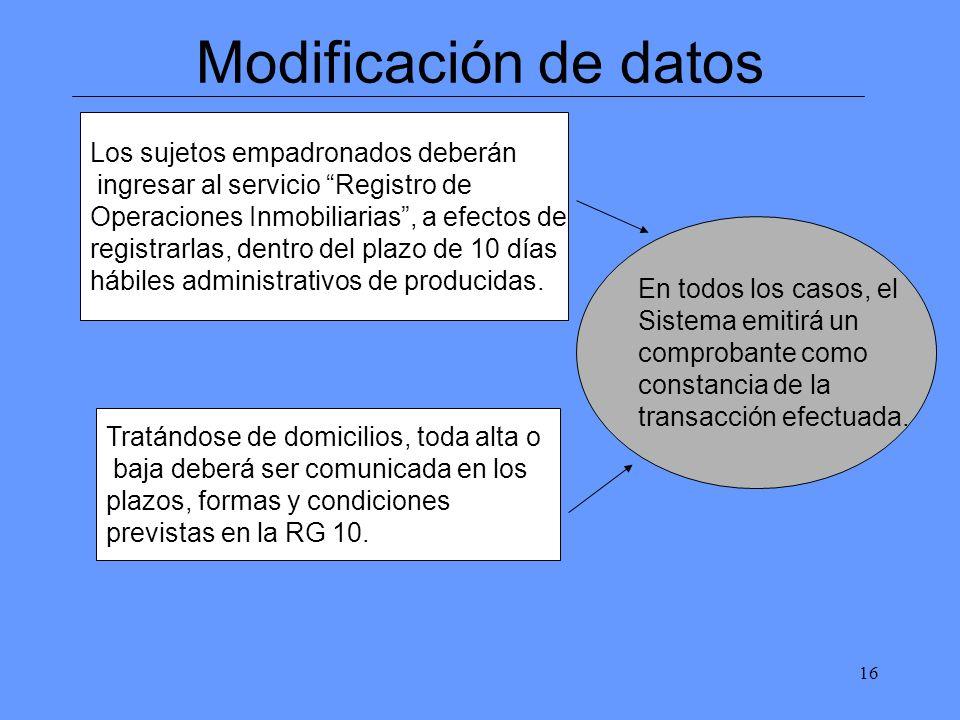 16 Modificación de datos Los sujetos empadronados deberán ingresar al servicio Registro de Operaciones Inmobiliarias, a efectos de registrarlas, dentro del plazo de 10 días hábiles administrativos de producidas.