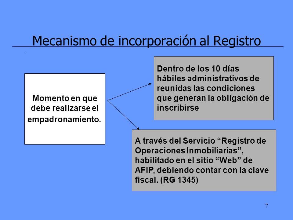 7 Mecanismo de incorporación al Registro. Momento en que debe realizarse el empadronamiento.