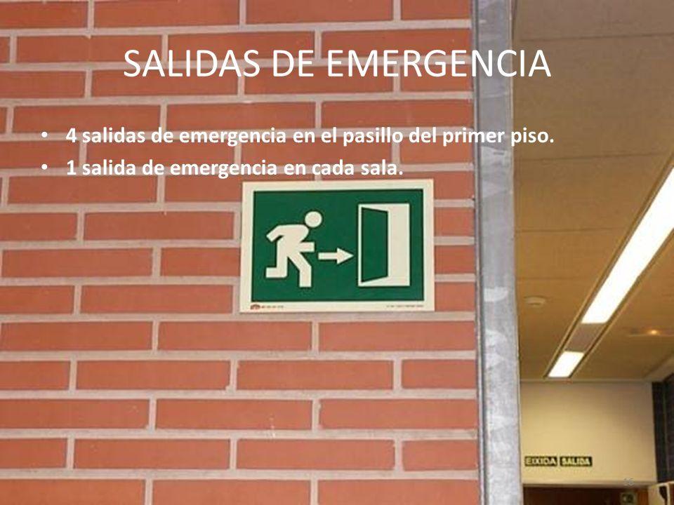 16 SALIDAS DE EMERGENCIA 4 salidas de emergencia en el pasillo del primer piso. 1 salida de emergencia en cada sala.