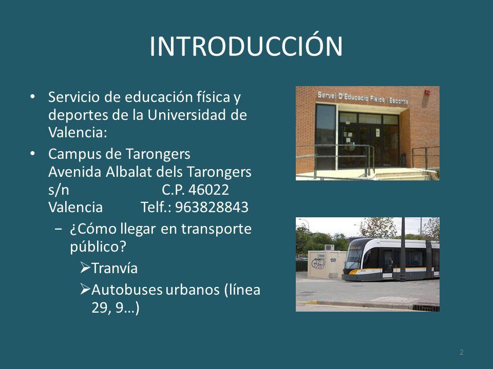 2 INTRODUCCIÓN Servicio de educación física y deportes de la Universidad de Valencia: Campus de Tarongers Avenida Albalat dels Tarongers s/n C.P. 4602