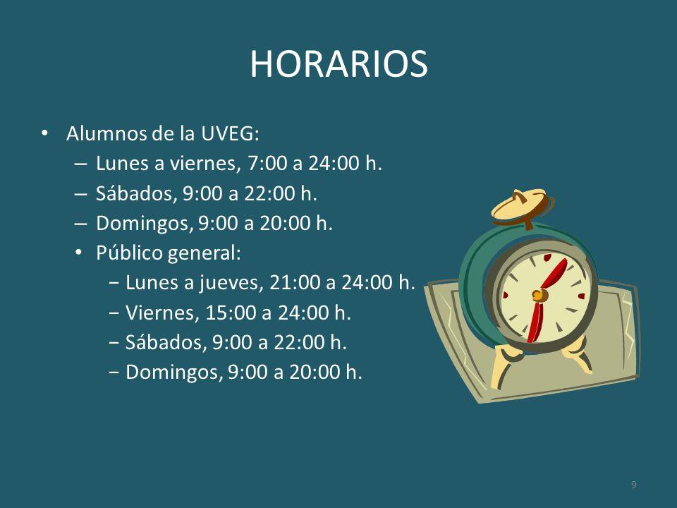 10 HORARIOS Horarios concretos: – Sala de musculación: Mañanas: franjas de 2 horas.