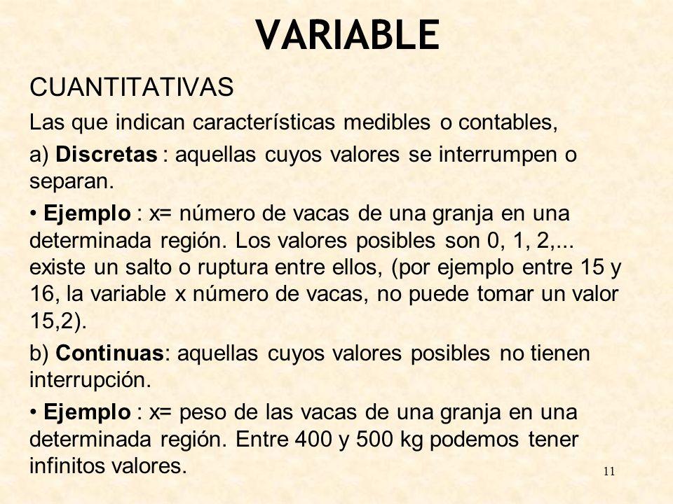 11 VARIABLE CUANTITATIVAS Las que indican características medibles o contables, a) Discretas : aquellas cuyos valores se interrumpen o separan. Ejempl