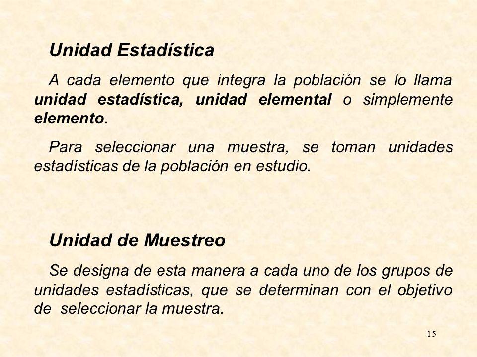 15 Unidad Estadística A cada elemento que integra la población se lo llama unidad estadística, unidad elemental o simplemente elemento. Para seleccion
