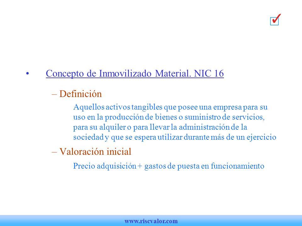Concepto de Inmovilizado Material.