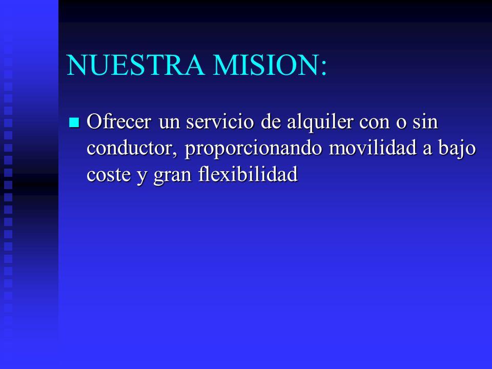 NUESTRA MISION: Ofrecer un servicio de alquiler con o sin conductor, proporcionando movilidad a bajo coste y gran flexibilidad Ofrecer un servicio de