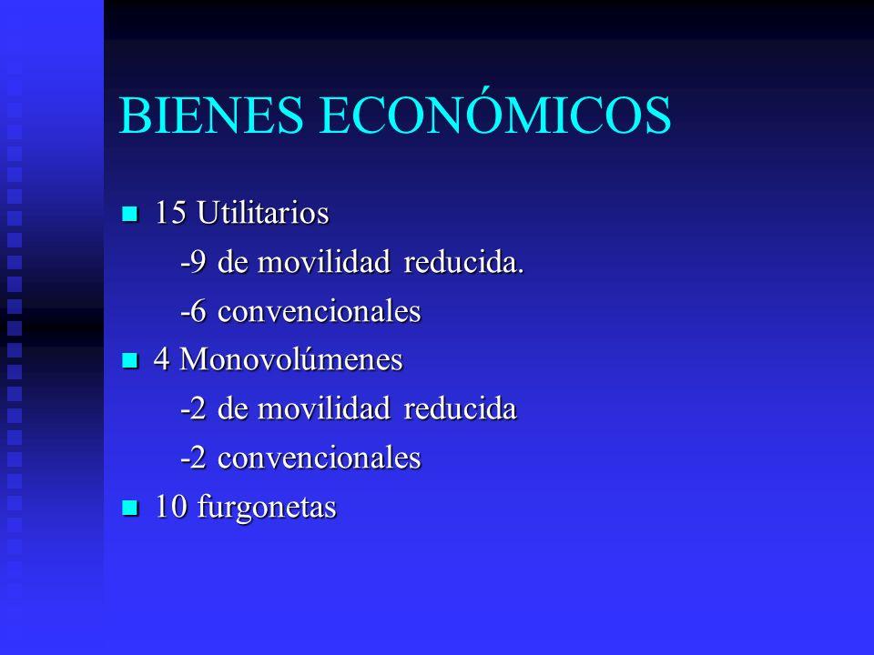 BIENES ECONÓMICOS 15 Utilitarios 15 Utilitarios -9 de movilidad reducida. -9 de movilidad reducida. -6 convencionales -6 convencionales 4 Monovolúmene