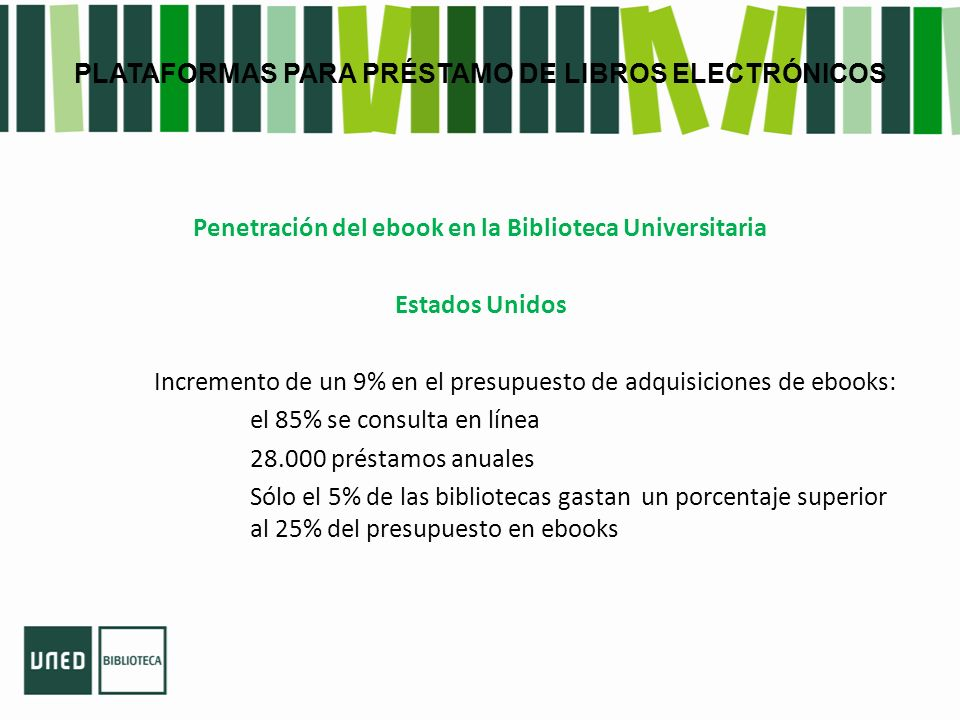 PLATAFORMAS PARA PRÉSTAMO DE LIBROS ELECTRÓNICOS Penetración del ebook en la Biblioteca Universitaria Estados Unidos Incremento de un 9% en el presupuesto de adquisiciones de ebooks: el 85% se consulta en línea 28.000 préstamos anuales Sólo el 5% de las bibliotecas gastan un porcentaje superior al 25% del presupuesto en ebooks