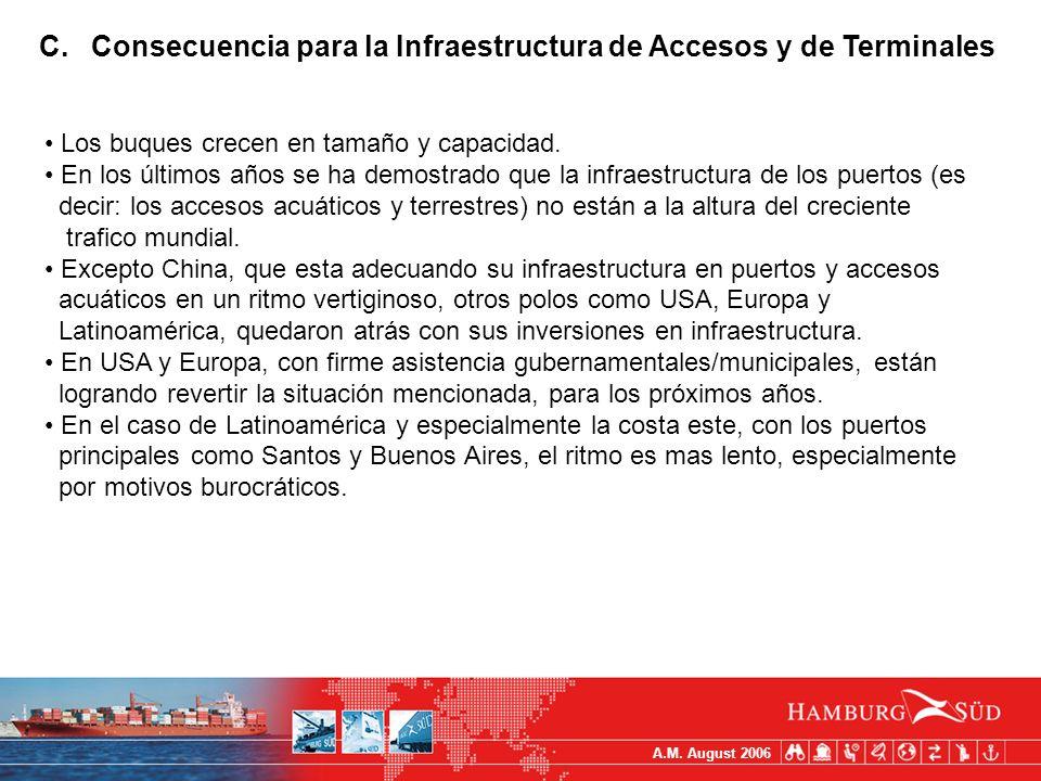 A.M. August 2006 C.Consecuencia para la Infraestructura de Accesos y de Terminales Los buques crecen en tamaño y capacidad. En los últimos años se ha