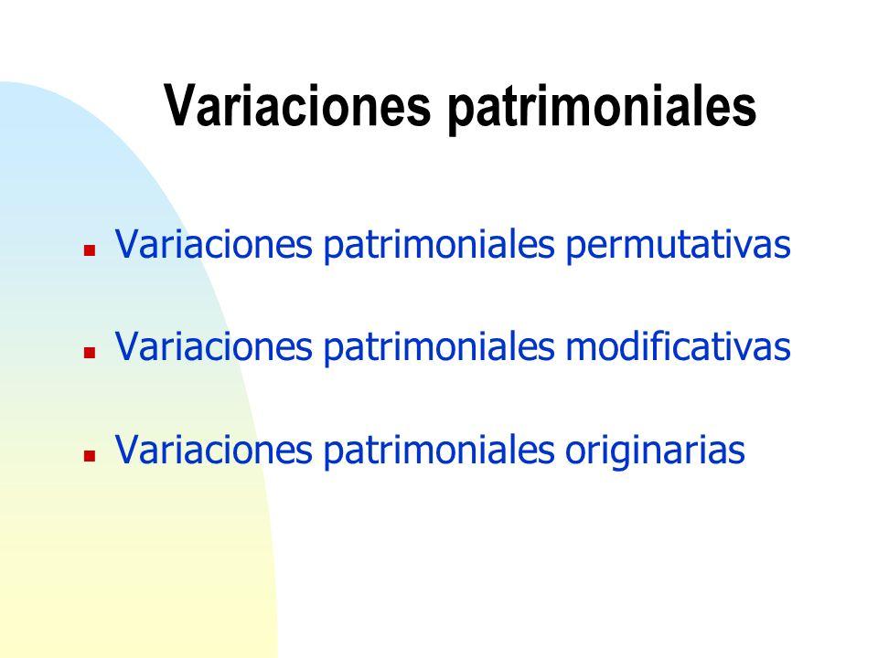 Variaciones patrimoniales n Variaciones patrimoniales permutativas n Variaciones patrimoniales modificativas n Variaciones patrimoniales originarias