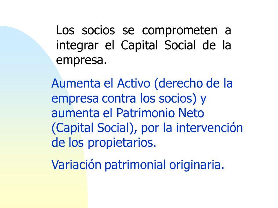 Los socios se comprometen a integrar el Capital Social de la empresa. Aumenta el Activo (derecho de la empresa contra los socios) y aumenta el Patrimo