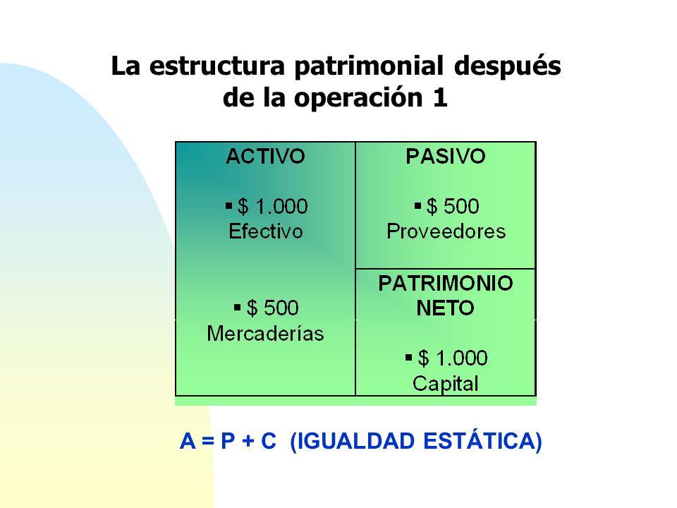 La estructura patrimonial después de la operación 1 A = P + C (IGUALDAD ESTÁTICA)