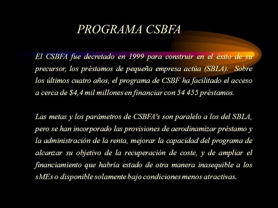 El CSBFA fue decretado en 1999 para construir en el éxito de su precursor, los préstamos de pequeña empresa actúa (SBLA). Sobre los últimos cuatro año