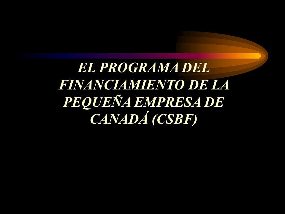 EL PROGRAMA DEL FINANCIAMIENTO DE LA PEQUEÑA EMPRESA DE CANADÁ (CSBF)