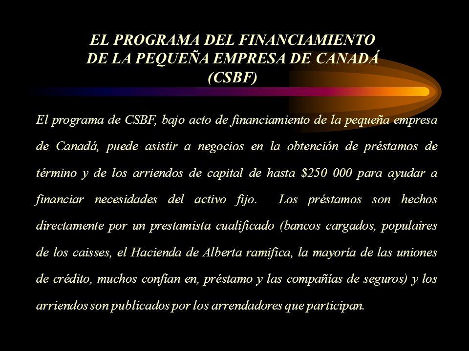 El programa de CSBF, bajo acto de financiamiento de la pequeña empresa de Canadá, puede asistir a negocios en la obtención de préstamos de término y de los arriendos de capital de hasta $250 000 para ayudar a financiar necesidades del activo fijo.