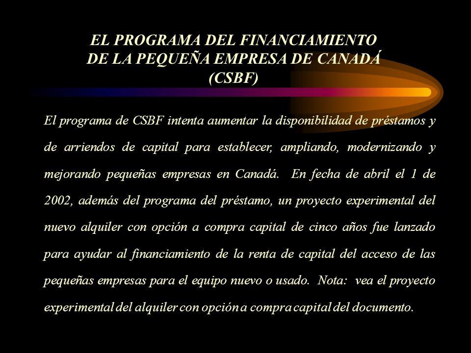El programa de CSBF intenta aumentar la disponibilidad de préstamos y de arriendos de capital para establecer, ampliando, modernizando y mejorando pequeñas empresas en Canadá.