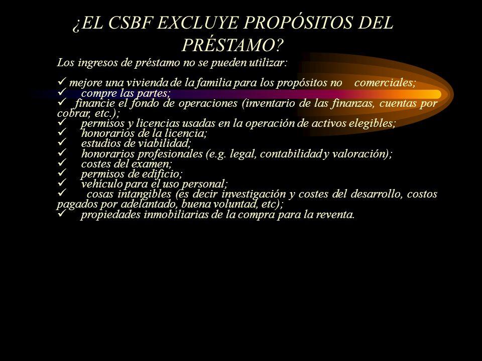 ¿EL CSBF EXCLUYE PROPÓSITOS DEL PRÉSTAMO.
