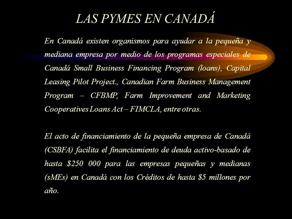 En Canadá existen organismos para ayudar a la pequeña y mediana empresa por medio de los programas especiales de Canadá Small Business Financing Program (loans), Capital Leasing Pilot Project., Canadian Farm Business Management Program – CFBMP, Farm Improvement and Marketing Cooperatives Loans Act – FIMCLA, entre otras.