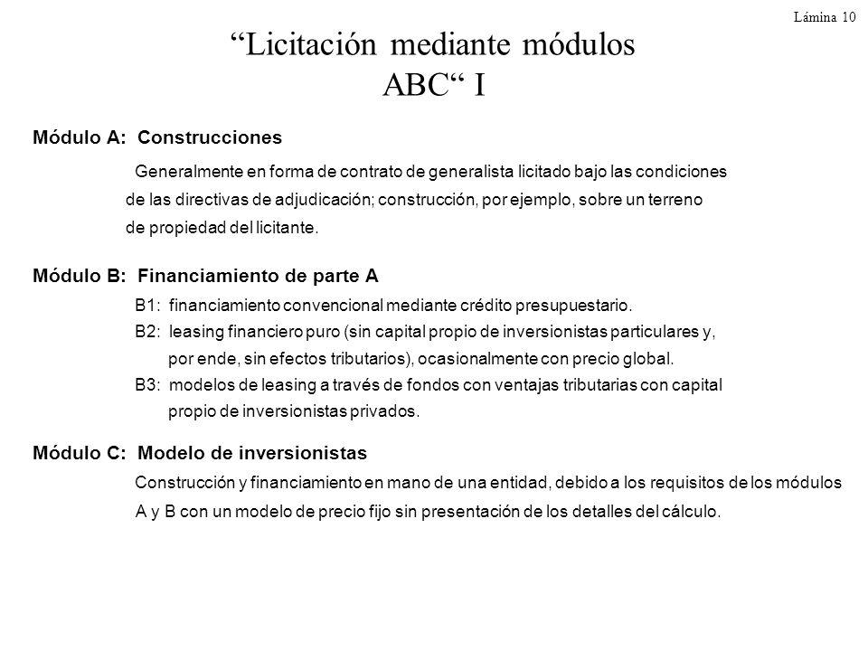 Lámina 10 Licitación mediante módulos ABC I Módulo A: Construcciones Generalmente en forma de contrato de generalista licitado bajo las condiciones de