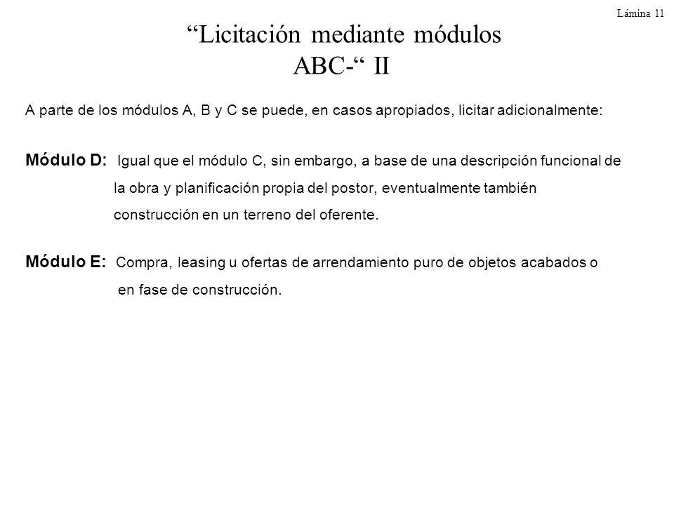 Lámina 11 Licitación mediante módulos ABC- II A parte de los módulos A, B y C se puede, en casos apropiados, licitar adicionalmente: Módulo D: Igual q
