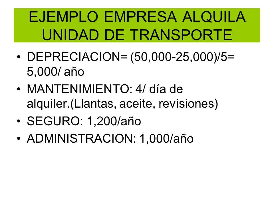 EJEMPLO EMPRESA ALQUILA UNIDAD DE TRANSPORTE DEPRECIACION= (50,000-25,000)/5= 5,000/ año MANTENIMIENTO: 4/ día de alquiler.(Llantas, aceite, revisione
