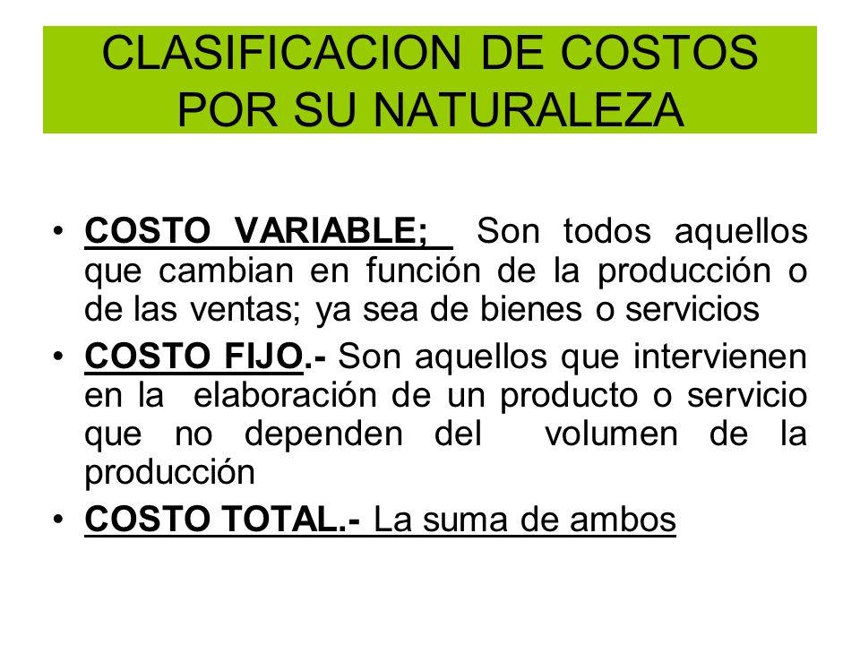 CLASIFICACION DE COSTOS POR SU NATURALEZA COSTO VARIABLE; Son todos aquellos que cambian en función de la producción o de las ventas; ya sea de bienes