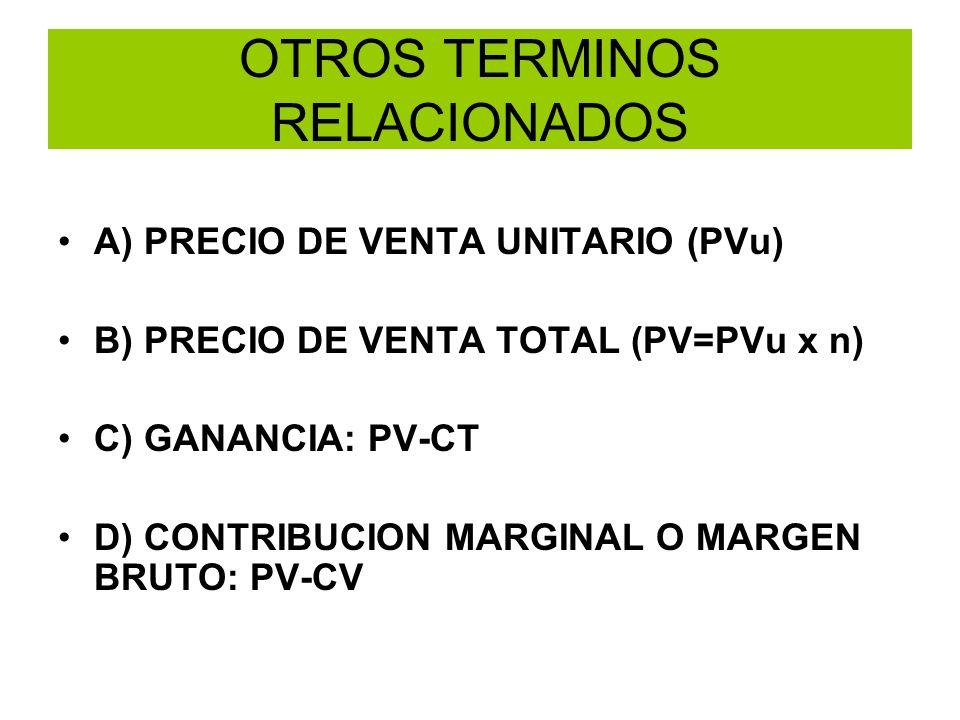 OTROS TERMINOS RELACIONADOS A) PRECIO DE VENTA UNITARIO (PVu) B) PRECIO DE VENTA TOTAL (PV=PVu x n) C) GANANCIA: PV-CT D) CONTRIBUCION MARGINAL O MARG