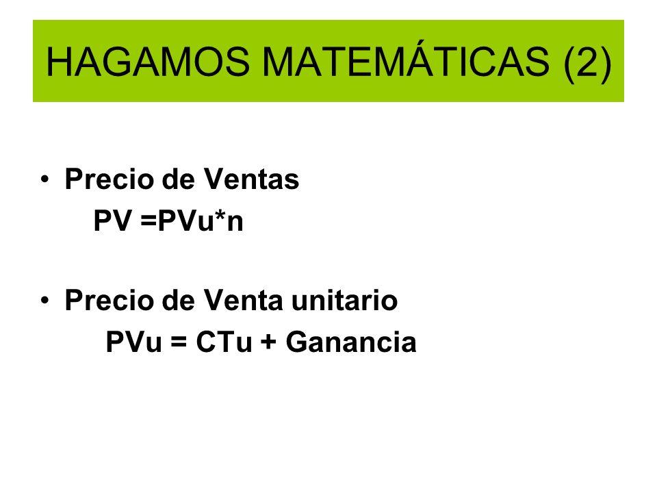 HAGAMOS MATEMÁTICAS (2) Precio de Ventas PV =PVu*n Precio de Venta unitario PVu = CTu + Ganancia
