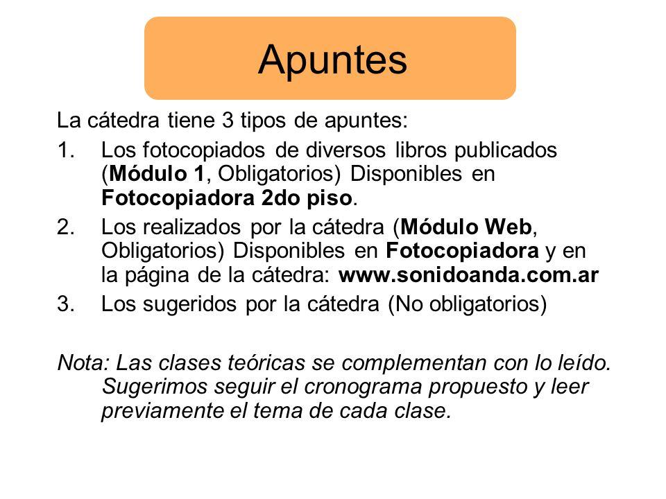 Apuntes La cátedra tiene 3 tipos de apuntes: 1.Los fotocopiados de diversos libros publicados (Módulo 1, Obligatorios) Disponibles en Fotocopiadora 2d
