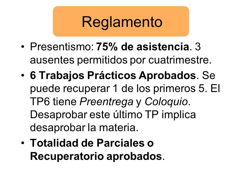 Reglamento Presentismo: 75% de asistencia. 3 ausentes permitidos por cuatrimestre. 6 Trabajos Prácticos Aprobados. Se puede recuperar 1 de los primero