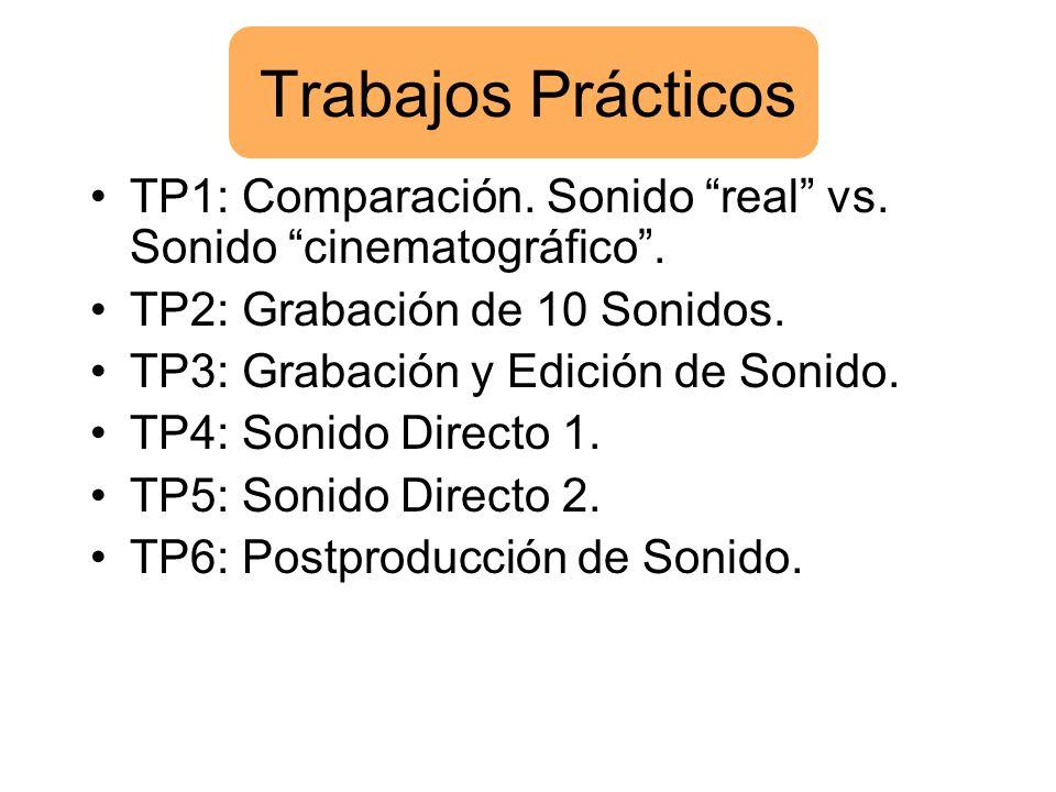 Trabajos Prácticos TP1: Comparación. Sonido real vs. Sonido cinematográfico. TP2: Grabación de 10 Sonidos. TP3: Grabación y Edición de Sonido. TP4: So