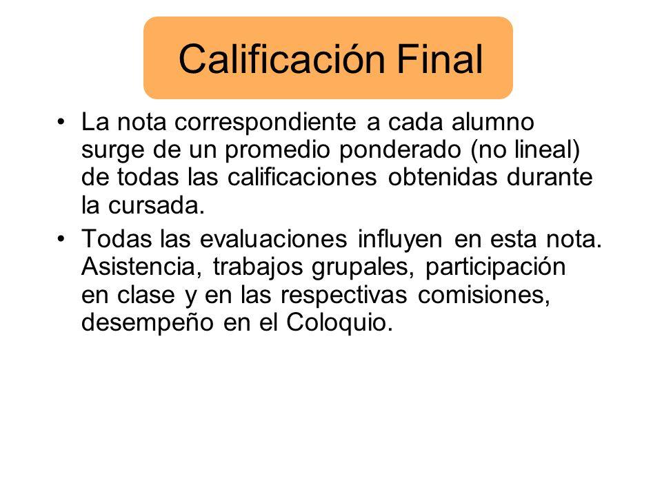 Calificación Final La nota correspondiente a cada alumno surge de un promedio ponderado (no lineal) de todas las calificaciones obtenidas durante la c