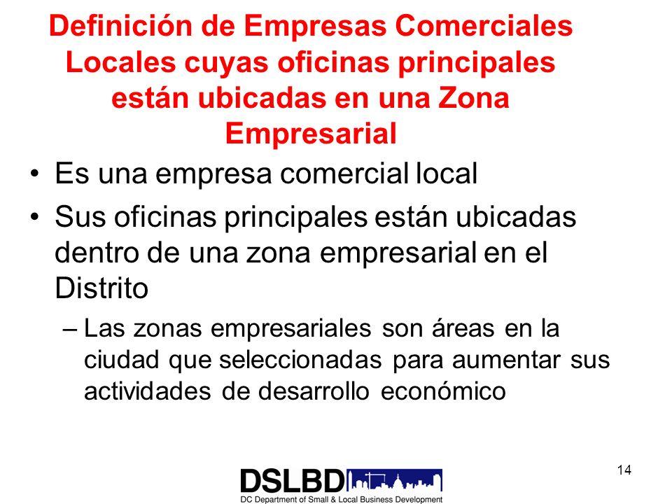 14 Definición de Empresas Comerciales Locales cuyas oficinas principales están ubicadas en una Zona Empresarial Es una empresa comercial local Sus ofi