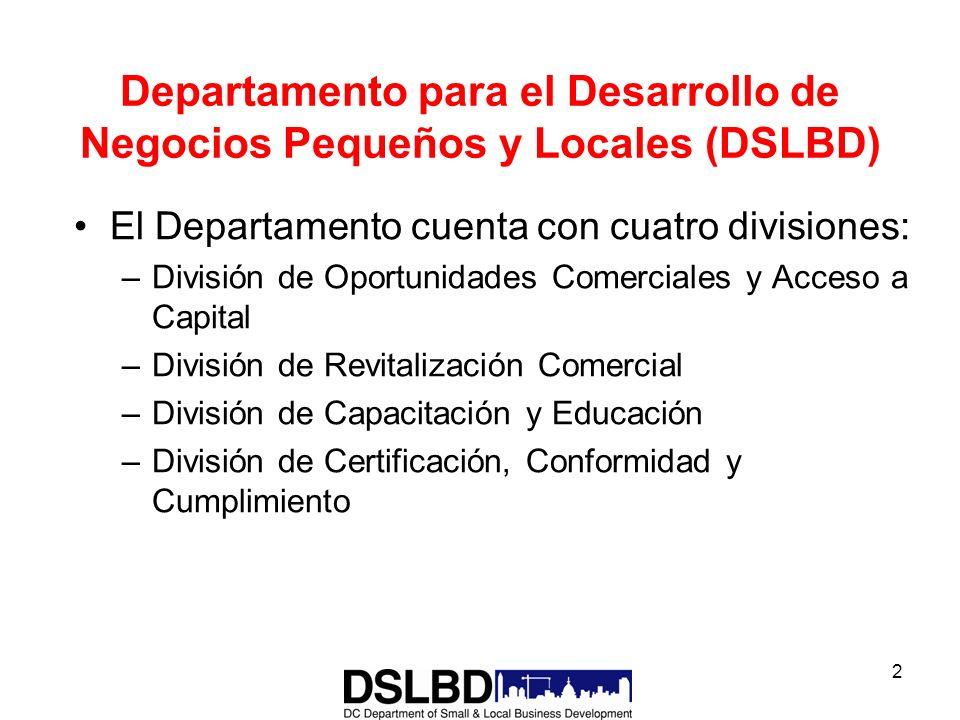 2 Departamento para el Desarrollo de Negocios Pequeños y Locales (DSLBD) El Departamento cuenta con cuatro divisiones: –División de Oportunidades Come