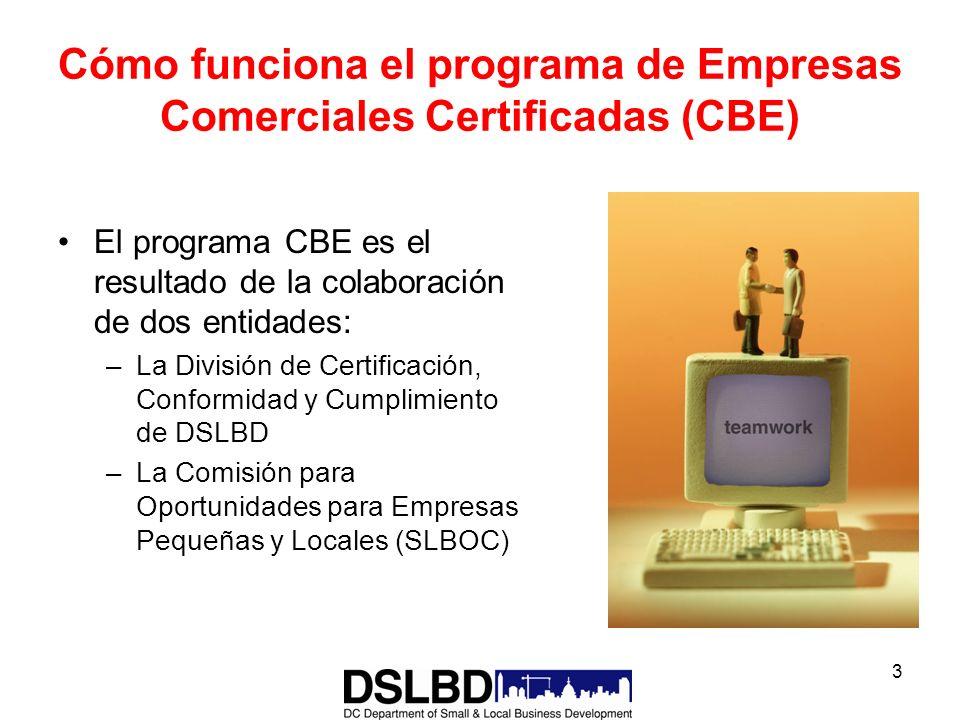 3 Cómo funciona el programa de Empresas Comerciales Certificadas (CBE) El programa CBE es el resultado de la colaboración de dos entidades: –La Divisi