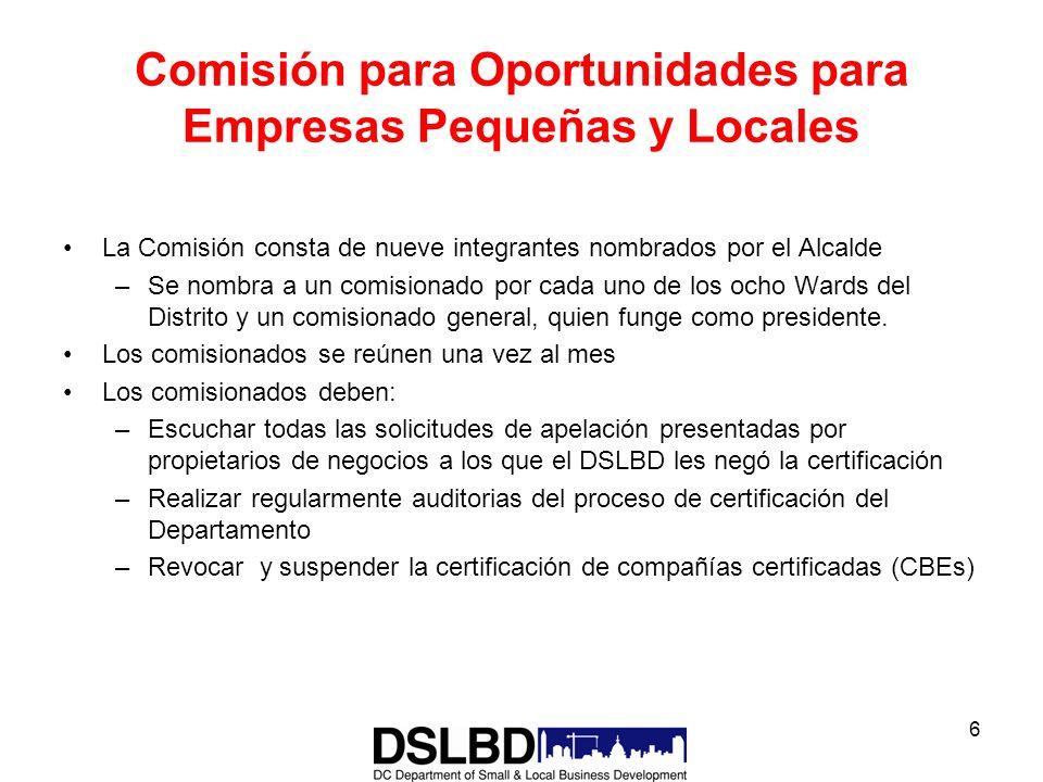 6 Comisión para Oportunidades para Empresas Pequeñas y Locales La Comisión consta de nueve integrantes nombrados por el Alcalde –Se nombra a un comisi
