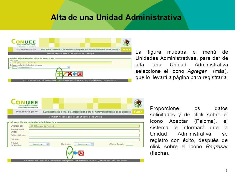 13 Alta de una Unidad Administrativa La figura muestra el menú de Unidades Administrativas, para dar de alta una Unidad Administrativa seleccione el i
