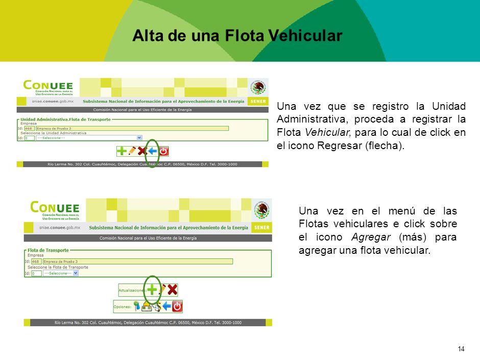 14 Alta de una Flota Vehicular Una vez que se registro la Unidad Administrativa, proceda a registrar la Flota Vehicular, para lo cual de click en el i