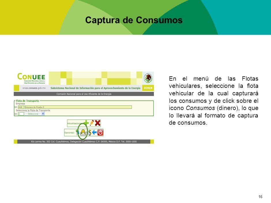 16 Captura de Consumos En el menú de las Flotas vehiculares, seleccione la flota vehicular de la cual capturará los consumos y de click sobre el icono
