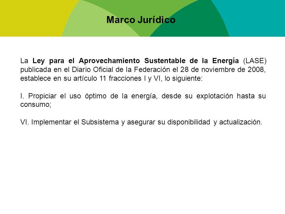 Marco Jurídico La Ley para el Aprovechamiento Sustentable de la Energía (LASE) publicada en el Diario Oficial de la Federación el 28 de noviembre de 2